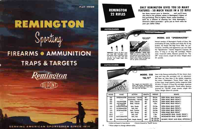 Remington 1958 Sporting Firearms Catalog