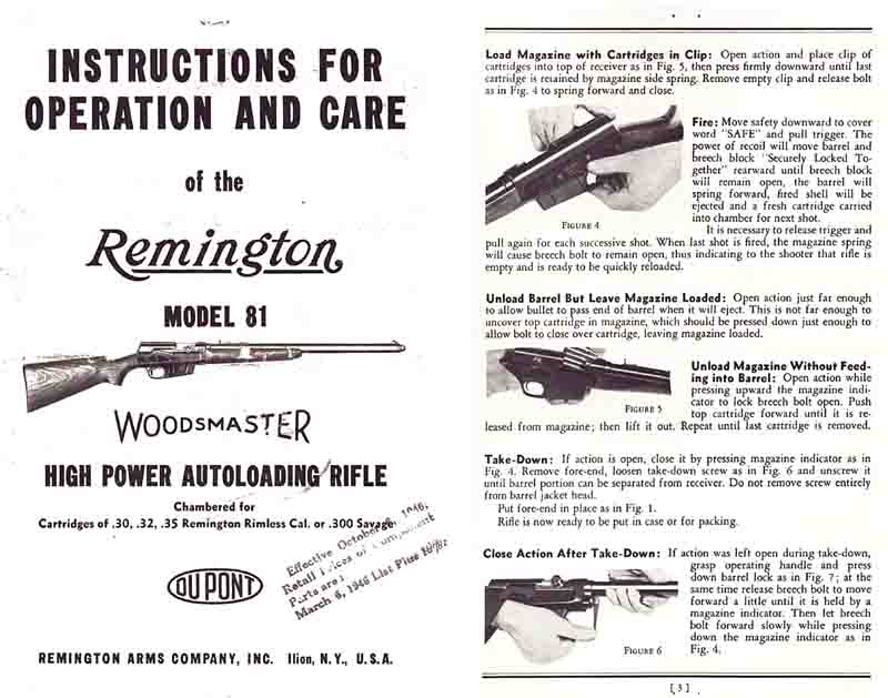 Remington Model 81 Woodmaster Care and Operations Manual