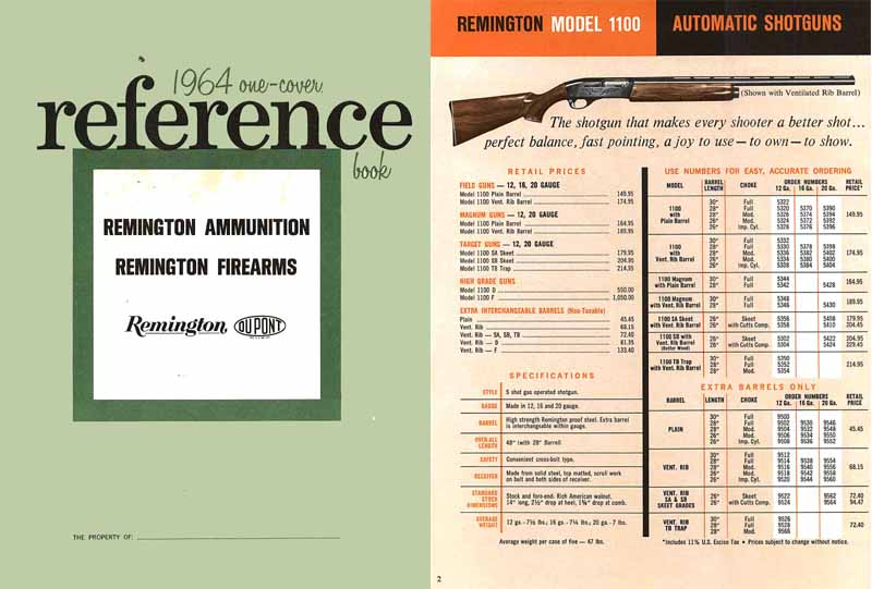Remington 1964 Gun Product Reference Manual