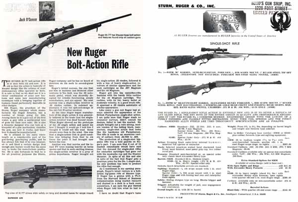 Sturm Ruger 1968 Model M77 Rifle- Outdoor Life Reprint
