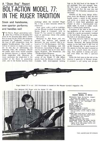 Sturm Ruger 1969 Model 77 American Riflemen Review and Advertisement