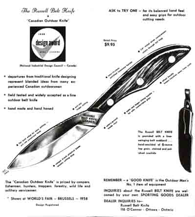 Russell Belt Knife Flyer c1960, Ottawa, Canada