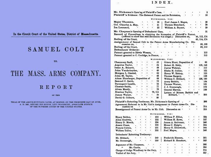 Sam Colt vs Mass Arms 1851 Report of Trial
