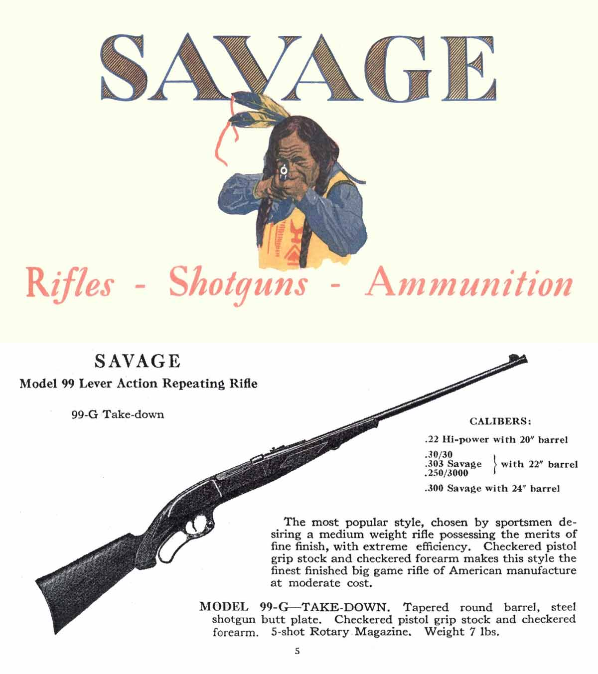 Savage c1927 Arms Company Catalog
