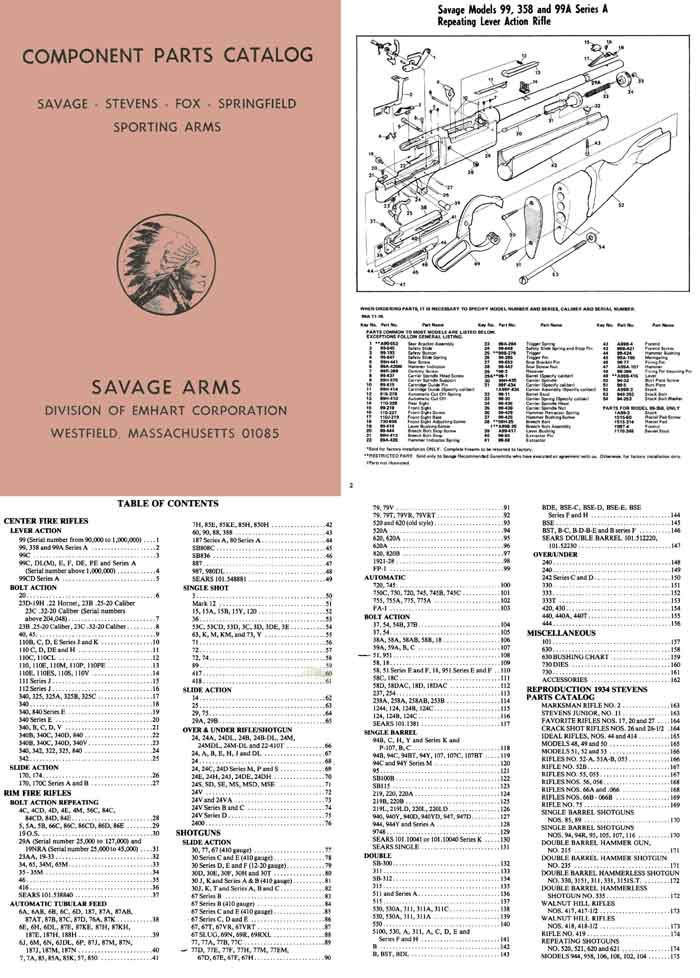 Savage 1984 Component Parts Catalog