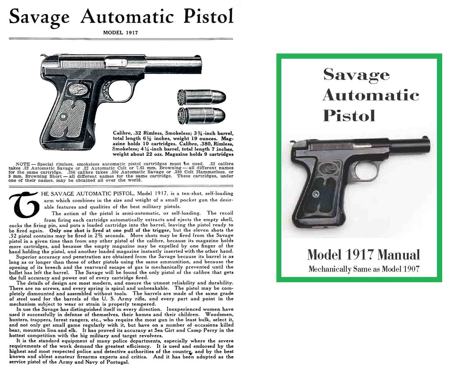 Savage M1907/1917 Automatic Pistol Manual