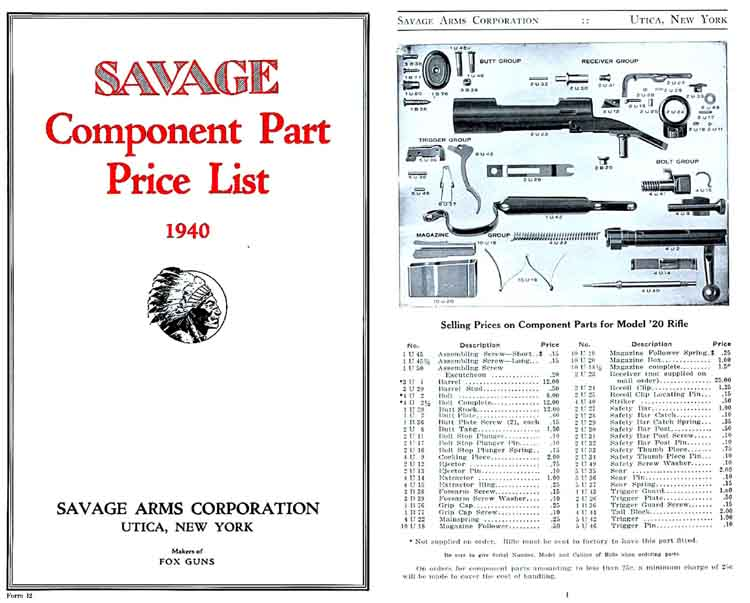 Savage 1940 Component Parts Catalog