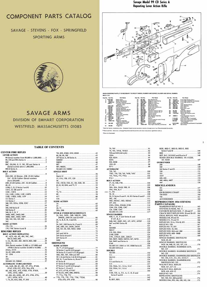 Savage c1981 Component Parts Catalog