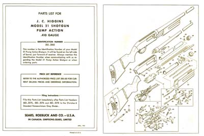 Sears, Roebuck & Co. 1962 JC Higgins Model 21 Shotgun Manual
