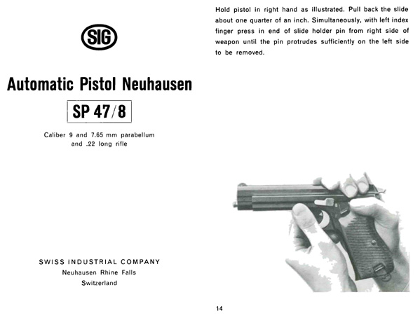 SP 47-8 SIG c1946 Automatic Pistol Neuhausen Manual