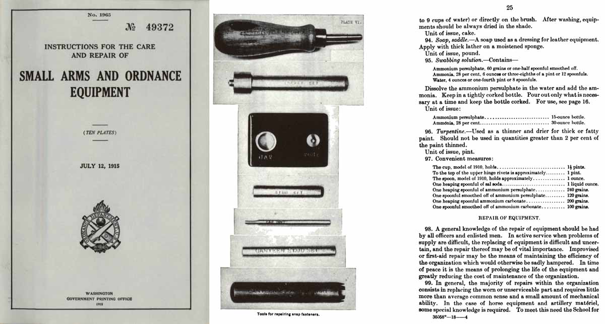 Small Arms & Ordnance Equipment 1915 Care and Repair- GPO