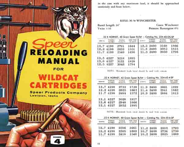 Speer Reloading Manual 1959 Wildcat Cartridges - Picture 1