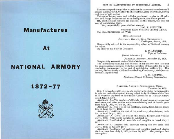 Springfield Armory - Manufacturing Statistics 1872-1877