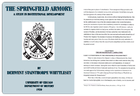 The Springfield Armory 1920- A Study in Institutional Development
