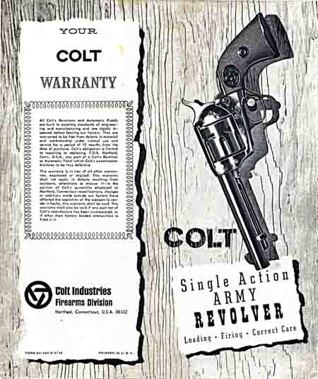 Colt Single Action Army Manual c1972