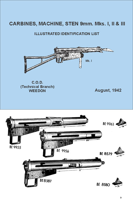 Sten Gun SMG Carbines, Machine, Sten, 9mm Mks. I, II & III Illustrated identification List Operations manual