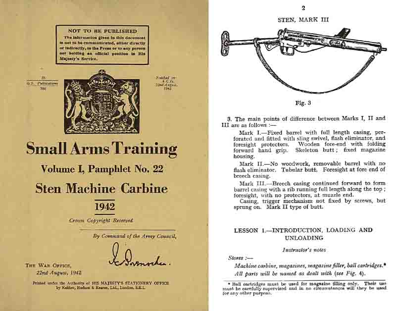 Sten Machine Carbine Manual 1942 British Small Arms Training