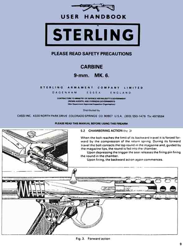 Sterling Mk 6 Sub Machine Carbine Manual c1970 (UK)