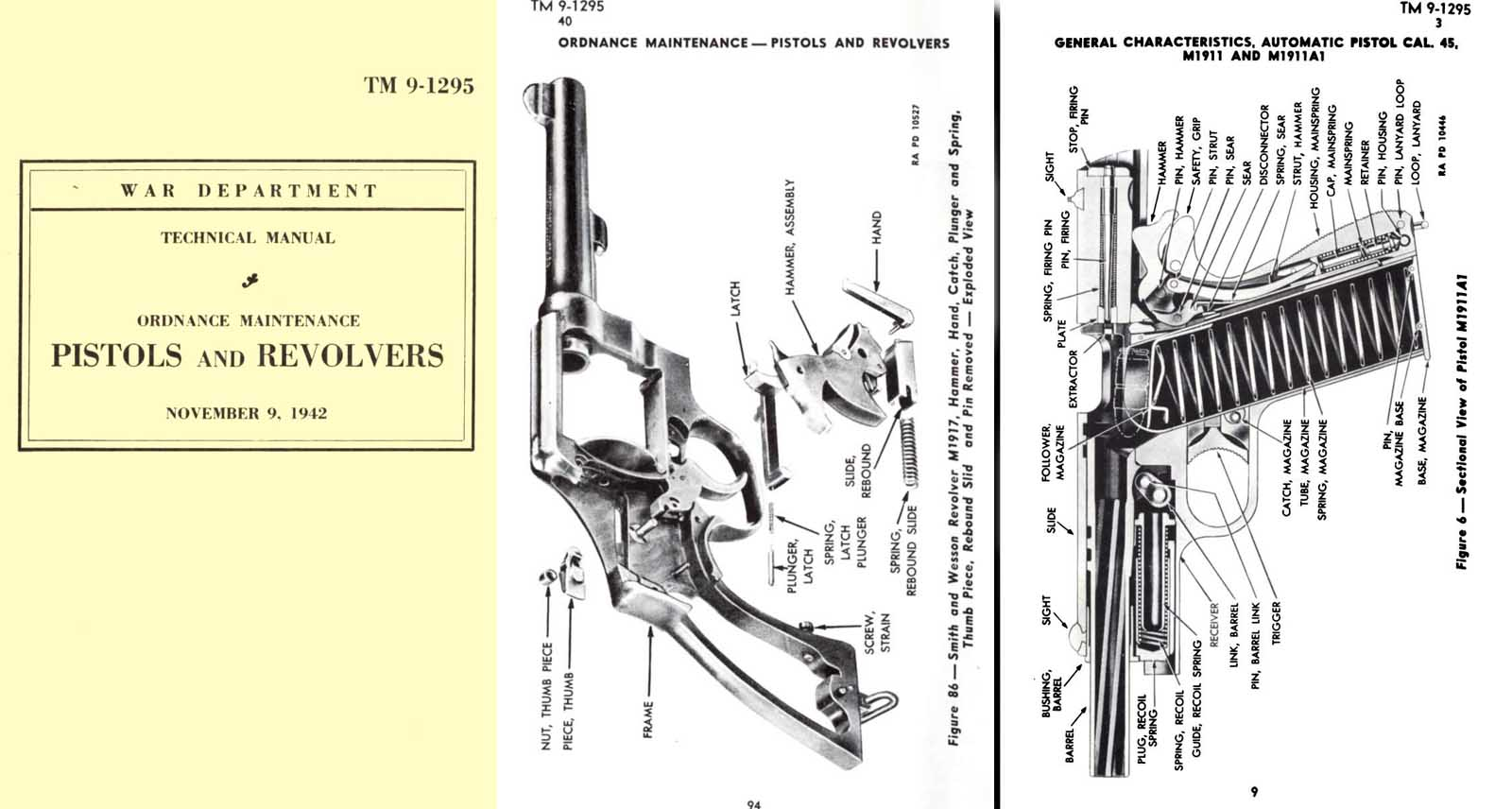 Pistols M1911A1 and Revolvers S&W .45 1942- Manual Ordnance Maint TM 9-1295