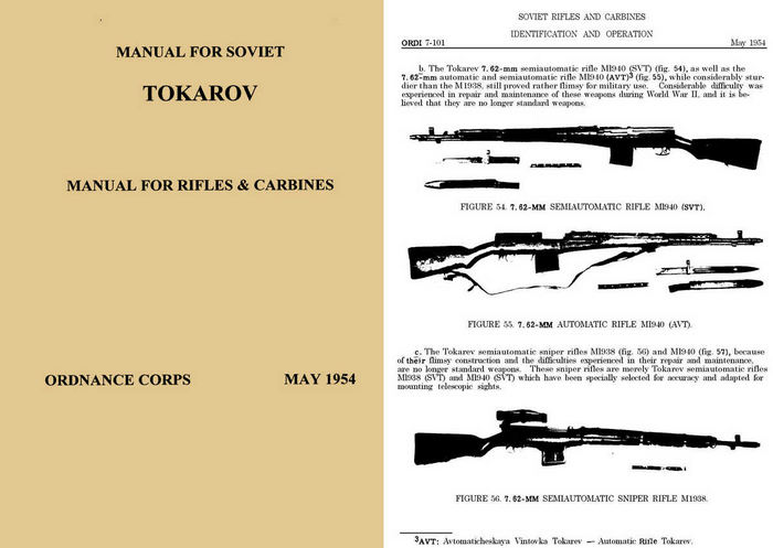 Tokarov Rifles & Carbines Manual - 1954 Ordnance Corps