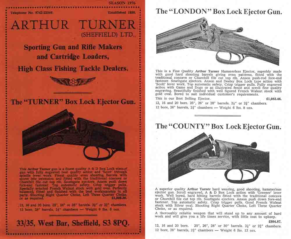 Arthur Turner 1976 Guns Catalog, Sheffield, Engl.