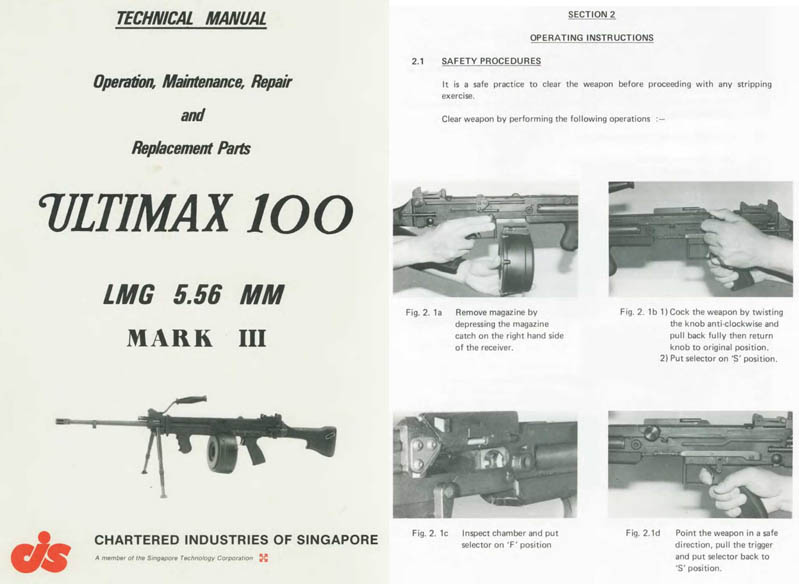 Chartered Industries 1984 Ultimax 100 Machine Gun Manual, Singapore
