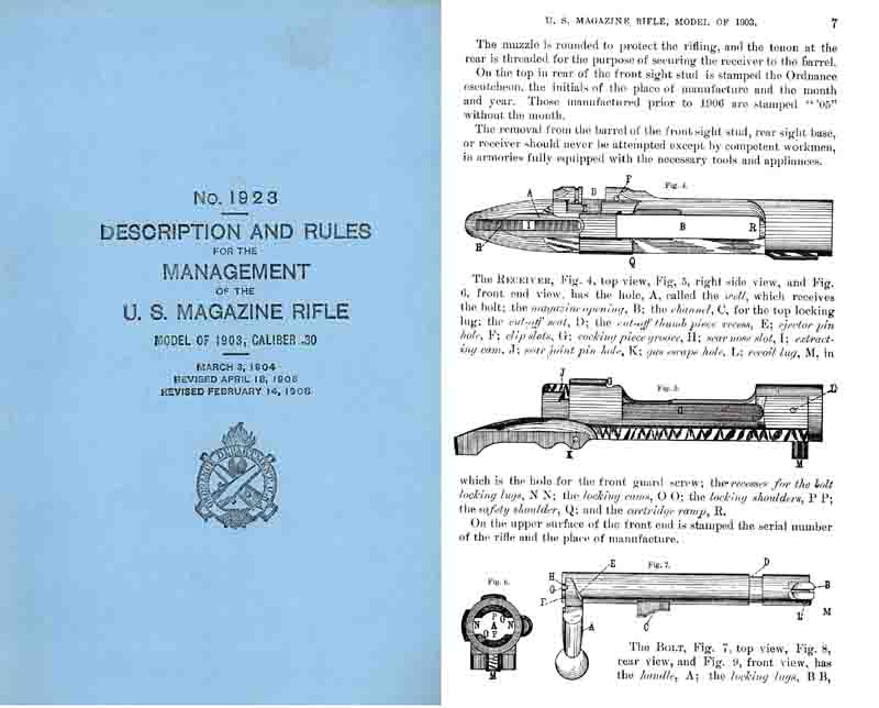 U.S. Magazine Rifle M1903, .30 Cal. Revised 1908 Springfield- Manual