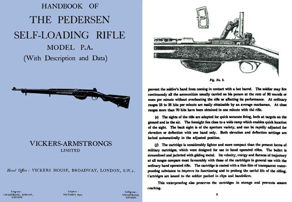 Pedersen c1930 Self-Loading Rifle M-P.A. Handbook- Vickers (UK)