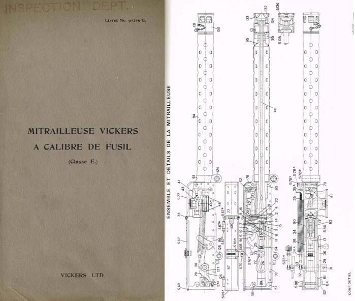Vickers c1915 Type E Aircraft Machine Gun Manual (French Text)