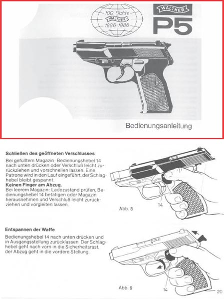 Walther P5 English, German, French & Italian Operations manual
