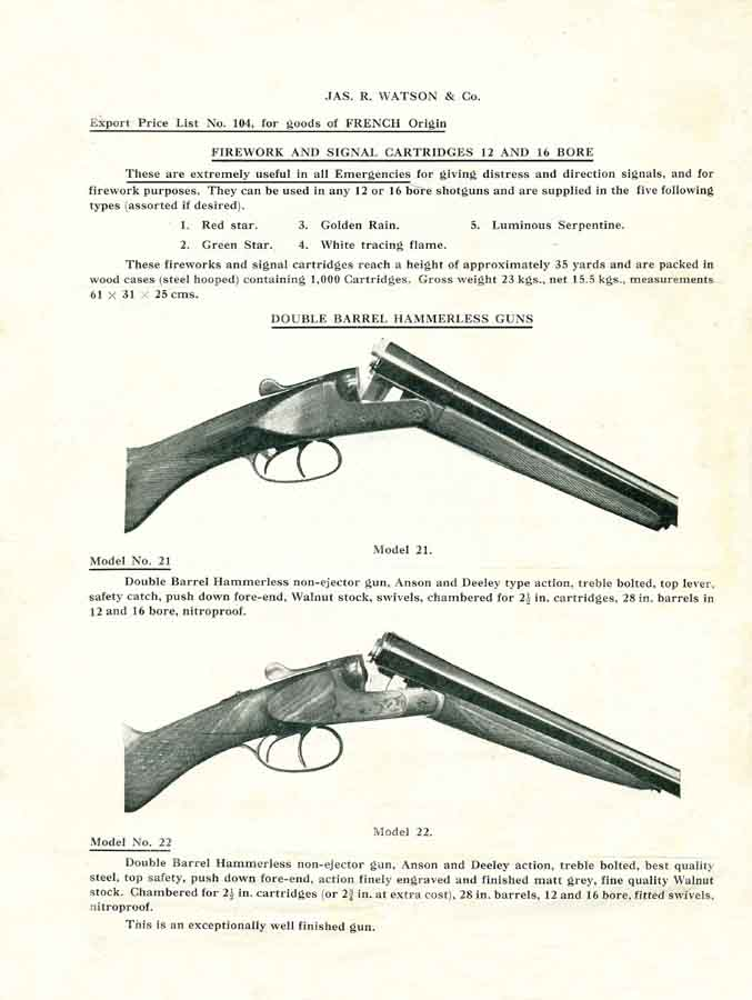 Watson, Jas. R. 1949 Gun & Accessory Export Price List