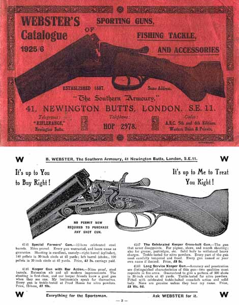 Websters of London 1925 Gun Catalogue