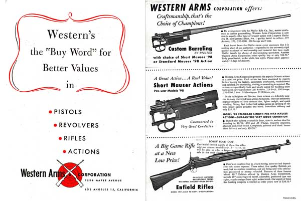Western Arms Corporation c1955 Gun Catalog