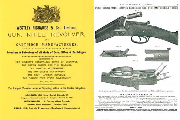 Westley Richards & Co. 1898-1900 Rifle & Guns Catalogue