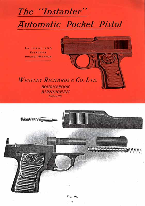 Westley Richards & Co. c1918 6.5 Instanter Pistol Manual