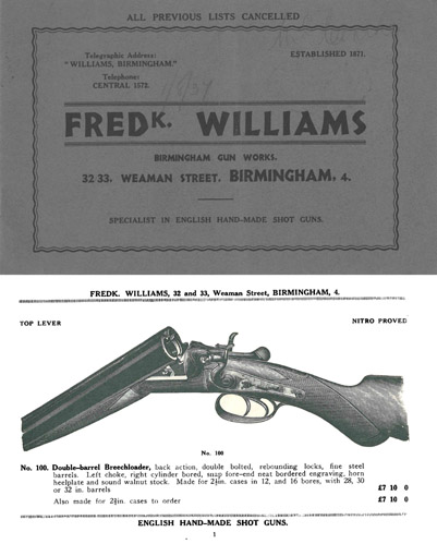 Williams, Fred K. 1937 Gun Catalog, Birmingham, England