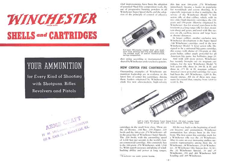 Winchester 1938 Ammunition Handy Reference Catalog
