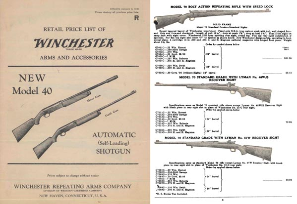 Winchester 1940 January Gun Catalog
