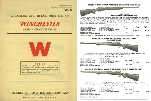 Winchester 1941 June Wholesale Gun Catalog
