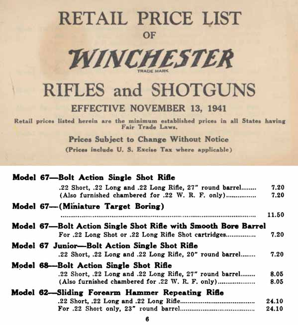 Winchester 1941 Small Price List - Not Illustrated