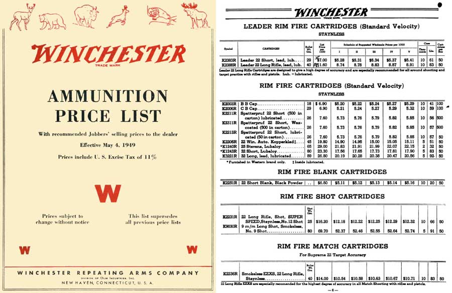 Winchester 1949 Ammunition Catalog