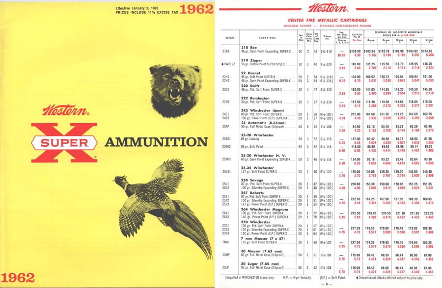 Winchester 1962 Ammunition Catalog