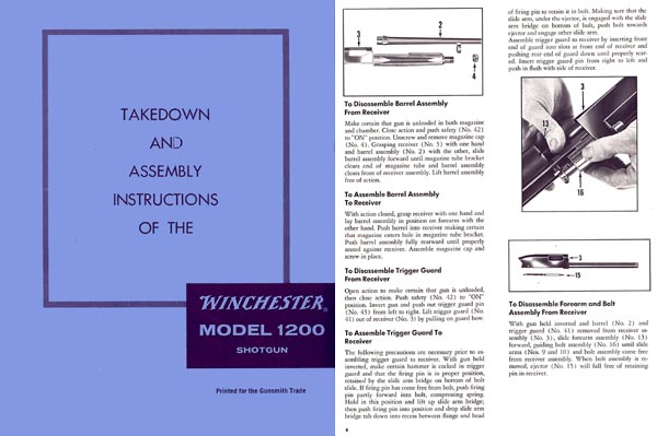 Winchester Model 1200, 1300, Sears 200 & Rangers Takedown Manual - PDF DOWNLOAD VERSION