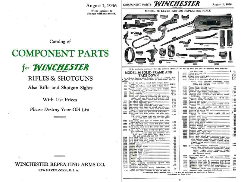 Winchester 1936 Component Parts Catalog