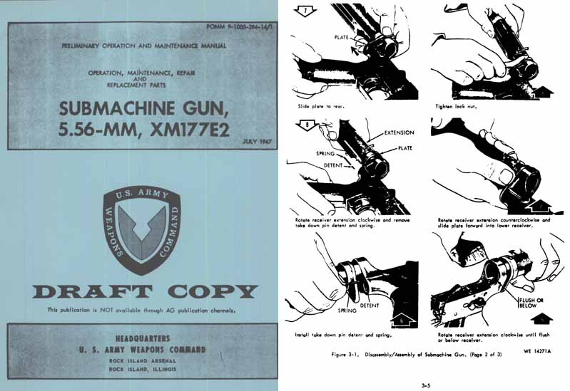 XM177Ec 5.56mm SMG 1967 Draft Copy (US- Manual)