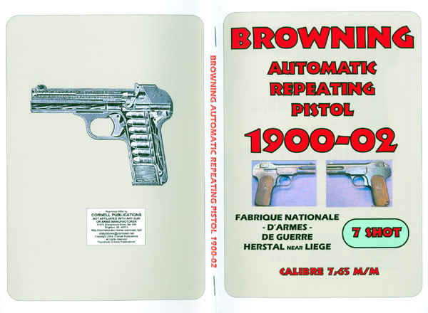 Browning 1900-02 Automatic Repeating Pistol Catalog and Manual