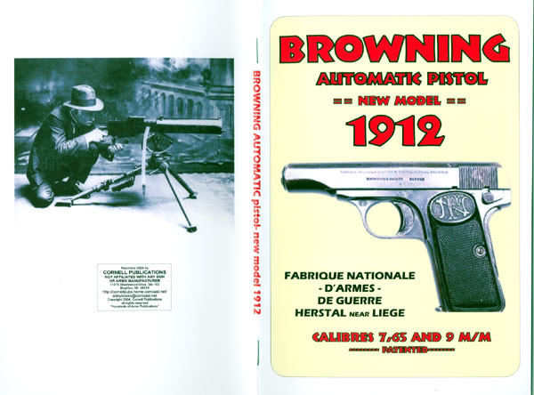 Browning 1912 (FN) Automatic Pistol (New Model) Manual/Catalog