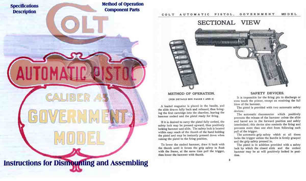 Colt 1911 Government Model 45 Caliber Pistol Manual Reprint