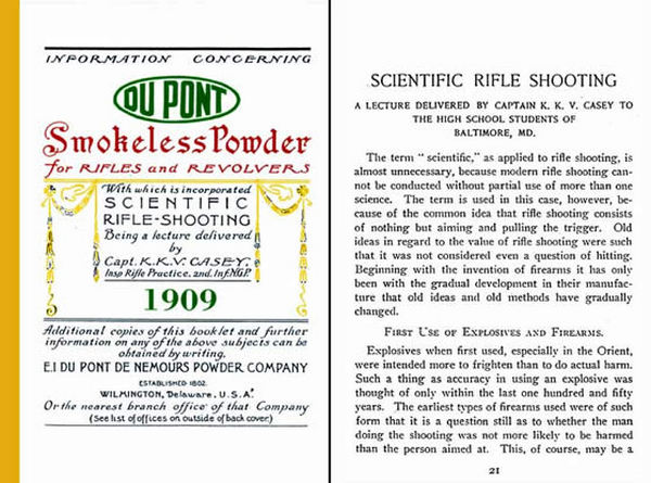 Dupont Smokeless Powder Information 1909 Including Scientific Rifle shooting