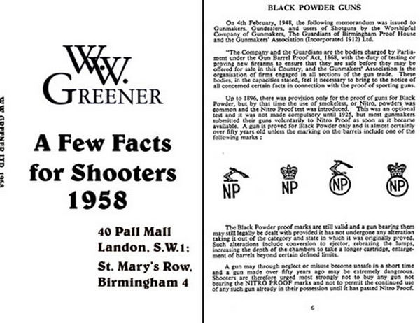 WW Greener 1958 Facts for Shooters (England)